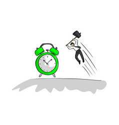 businessman using hammer to hit green alarm clock vector image