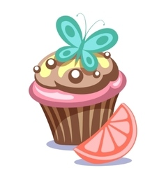 cake with butterfly vector image