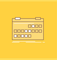 Calendar date event release schedule flat line vector