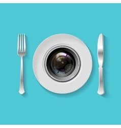 Camera lens with fork and knife vector