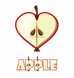 cartoon apple in the shape hear lovely textural vector image