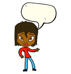 Cartoon relaxed woman pointing with speech bubble vector