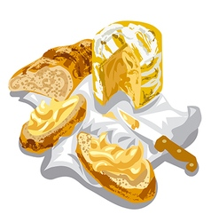 Cheese with bread vector