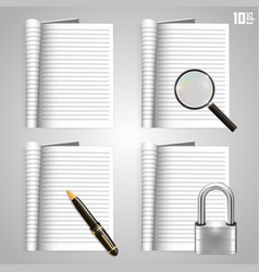 Collection icons open paper journal vector