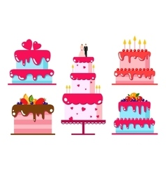 Color flat background with cake vector