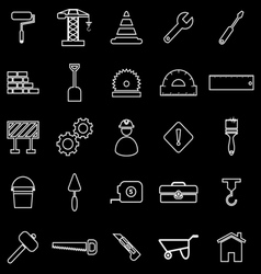 Construction line icons on black background vector image