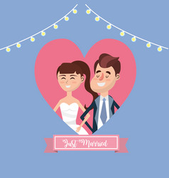 Couple married inside of heart and ribbon design vector