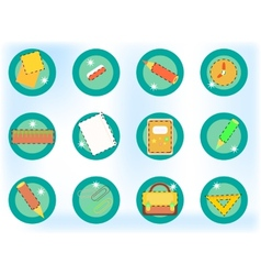 Crayons rulers papers - school icons vector image