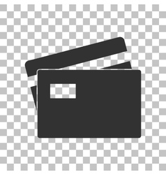Credit Card sign Dark gray icon on transparent vector image