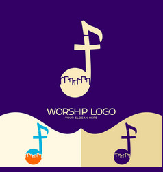 Cross of jesus musical note and city vector