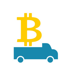 Delivery bitcoin cryptocurrency logistics virtual vector