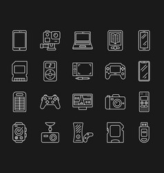 Device simple white line icons set vector