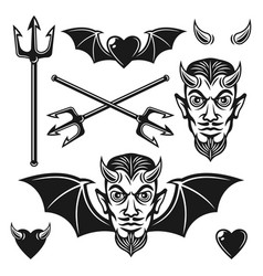 Devil black objects and design elements vector