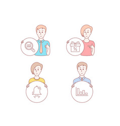 Discount offer data analysis and clock bell icons vector
