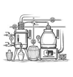 distillery sketch vector image