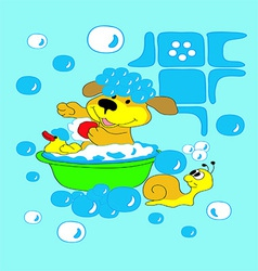 Dog bathing with a duck in the pelvis vector