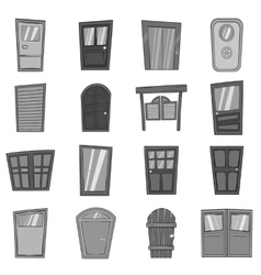 Door icons set in black monochrome style vector