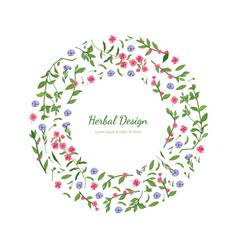 elegant floral design circular frame with place vector image