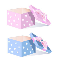 empty box with a pink bow vector image