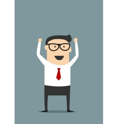 Excited businessman with raised hands vector image