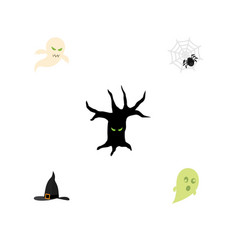 flat icon halloween set of witch cap phantom vector image
