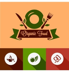 flat organic food icons vector image