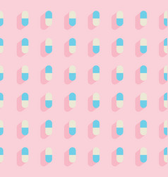 flat seamless pattern with pills medical vector image
