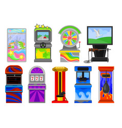Flat set of various arcade machines boxing vector