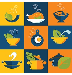 Food and cook emblems vector
