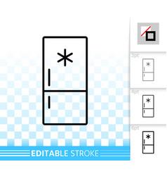 Fridge simple black line icon vector