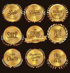 golden medallion with laurel wreath collection 2 vector image
