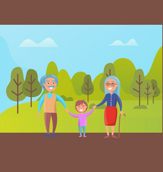 grandparents walking in green park with grandson vector image