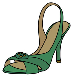Green tape shoe on high heel vector