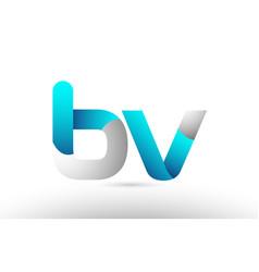 Grey blue alphabet letter bv b v logo 3d design vector