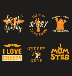 halloween graphic prints set for t shirt costumes vector image