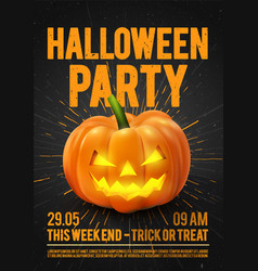 Happy halloween party poster with pumpkin vector