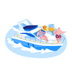 happy male and female characters resting on ship vector image
