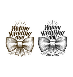 Happy wedding day label marriage wed banner vector