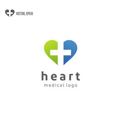 heart with health care logo design vector image