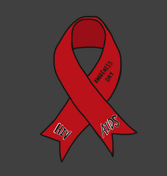 Hiv aids awareness day red ribbon vector