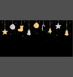 holiday banner with hanging glitter covered balls vector image