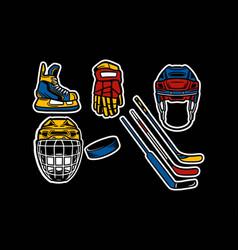 Ice hockey equipment pack vector