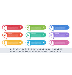 Infographic design business concept with 9 steps vector
