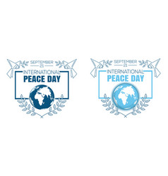 international peace day logo design set vector image