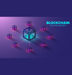 isometric blockchain technology concept shape of vector image