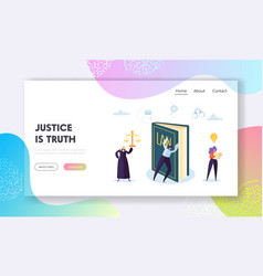 Justice is truth landing page judge legal vector