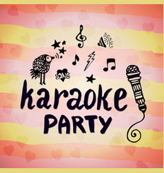 karaoke party music creative card with doodle vector image