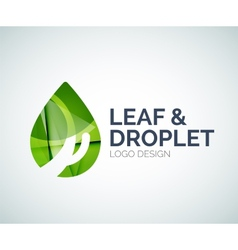 Leaf and droplet logo made of color pieces vector image