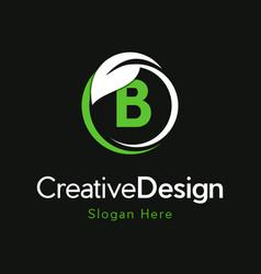 Letter b circle leaf creative business logo vector