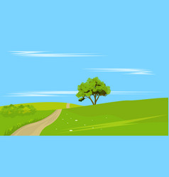 lone tree with rural land vector image